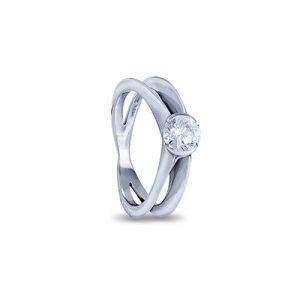 Cross Over Diamond Engagement Ring
