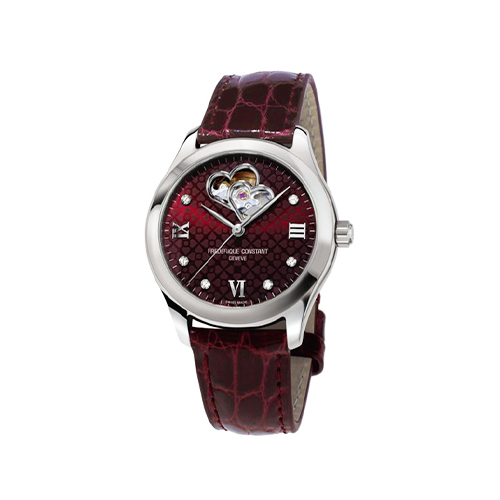 Deonne le Roux Frederique Constant Heart Beat burgundy ladies watch